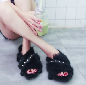 Women Slip On Pearl Beads Faux Rabbit Fur Casual Summer Fashion Party Slippers