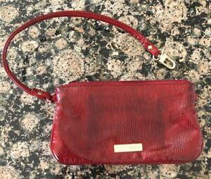 Dark Red Faux Eel Skin Grain Ladies Steve Madden Clip/Clutch Phone Makeup Bag