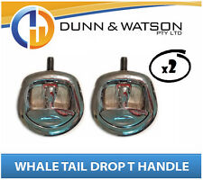 Recessed Folding T Lock / Handle (Trailer Caravan, Toolbox) Drop T Whale Tail x2