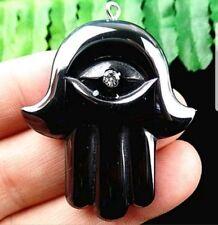 41x36x5mm black hematite carved hand pendant bead W3148