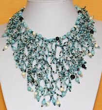 Turquoise Blue necklace. Chunky Choker. Bib necklace. blue Collar Jewellery DB12