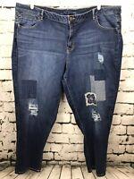 Lane Bryant Blue Denim Patchwork Spandex Stretch Low Rise Boyfriend Jeans 28