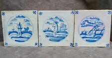 3x Nice Antique Delftware tiles with people, one smoking a pipe, 18th. century