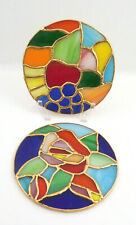 2 Stained – Slag Glass Sun-catchers Colorful Fruits & Flower 4� Diameter
