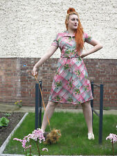 rosa grün Sommerkleid Kleid 60er Rockabilly True VINTAGE 60s rose green dress