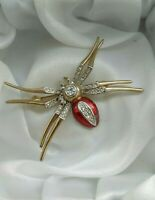 Vintage Gold Tone Enamel Rhinestone Spider Insect Brooch Pin In Need Of Repair