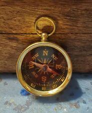 Working Brass Pocket Compass - Miniature Necklace Pendant Vintage Antique Style