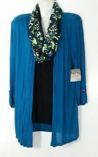 Coral Bay Petite Womens Top With Scarf Necklace Petite Large PL Teal Black