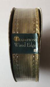 "NEW RIBBON 50 Yard Spool Gold Metallic Wired Edge Ribbon 1.5""/3.8cm Wide"