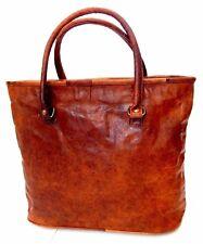 """17"""" Women Vintage Looking Genuine Brown Leather Tote Shoulder Bag Handmade Purse"""