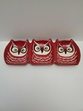 Katie Brown Owl Serving Dish Tray Red