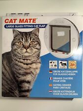 Cat Mate 4-Way Locking Large Cat Flap Glass Fitting - White Lockable Cat Flap