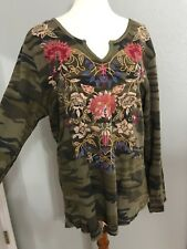 NWT JOHNNY WAS Simona EMBROIDERED Camo Green Thermal Shirt Blouse Sz XL