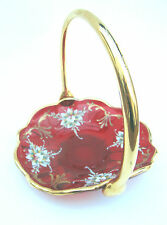 Murano Ruby Red Dish with Enameled Flowers & Gilt Trim and Handle
