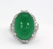VINTAGE 17.80cts SCARAB HANDMADE COCKTAIL CHRYSOPHASE RING 18K size7 WHITE GOLD