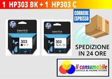 HP 303 NERO+COLORE T6N02AE + T6N01AE ORIGINALI HP ENVY 6220/6230/6232/6234 7130