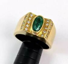 Estate Solid 18K 750 Yellow Gold Emerald Diamond Ring Sz 10.25 11.3g NR!