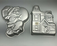 Vintage Wilton 1981 Flying WITCH & 1983 Haunted House Halloween Cake Party Pan