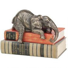 Bronze Elephant Statue African Wildlife Shelf Sitter Sculpture Figurine