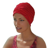 Ladies Swimming Hat Bathing Cap by Fashy Turban Style Red Swim Cap Easy To Wear