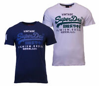 Superdry Mens New Vintage Logo Short Sleeve Crew Neck Print T-Shirt Navy White