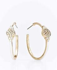 Brand New Ann Taylor Enamel Hoops Earrings Color White 10K Colored Gold Plating