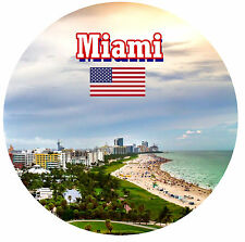 MIAMI, FLORIDA, USA - SIGHTS / FLAG - ROUND SOUVENIR FRIDGE MAGNET - NEW - GIFT