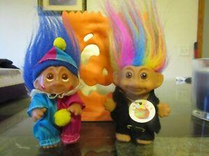 Lot Vtg Russ Troll Doll RAINBOW HAIR Luck Bingo Lottery w/Tag #18300 1985 Clown