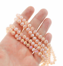 Faceted Glass Beads 8mm x 6mm - Electroplated Peach - 1 Strand 70 Beads - BD705