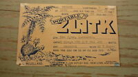 OLD HAM QSL RADIO CARD, 1948 NEW LYNN AUCKLAND NEW ZEALAND, ZL1TK