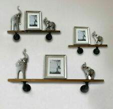 Industrial Pipe & Wooden Shelves Wall Mounted Shelf Display Unit Rustic Home