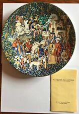 Limoges France Blue Unicorn Plate #6 w/ Original Box & Paperwork Ex Condition