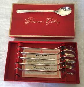 Grosvenor Delphic Long Parfait Spoons - Vintage Box Set EPNS A1 Silver-Plated