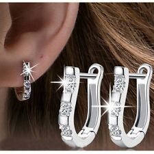1 Pair 18K White Gold Filled Gemstones Crystal Women Hoop Stud Earrings Jewelry