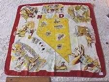 Las Vegas, Reno Western Cowboy & Gambling Rayon Vintage Map Scarf Print~c1930-40