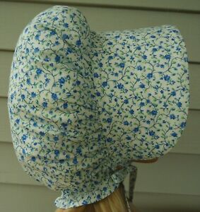 NEW HANDMADE CHILDS PRAIRIE - PIONEER SUN BONNET ~WHITE /blue floral