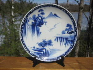 "ANTIQUE JAPANESE BLUE & WHITE SHALLOW BOWL LARGE 12 3/8 ""  MEIJI PERIOD KO-IMARI"