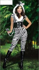 WOMENS LADIES SEXY ZEBRA AFRICA ANIMAL COSTUME HEN DOO FANCY DRESS PARTY OUTFIT
