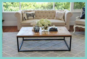 IN STOCK! NEW Hamptons Style Industrial French Wood Steel Coffee Table