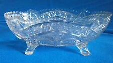 "Vintage Pressed Glass 4 Footed Bowl~9-1/2"" x 6-1/2 Oval ~ Flowers, Stars"