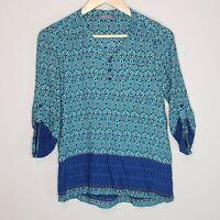 Market & Spruce Stitch Fix Boho Cottagecore Shirt Top Blouse Blue V Neck Small