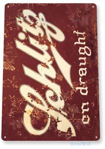 TIN SIGN Schlitz Draugt Beer Metal Art Store Pub Brew Shop Bar Pub A602