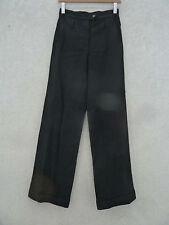 CLAUDIE PIERLOT : Superbe pantalon coupe large, revers, noir, laine, T1=38