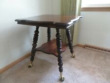 Antique Oak Parlor Table  w/ Glass Ball Claw Feet Quartersawn Oak Victorian 1930