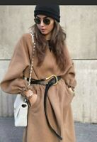 Zara Camel Wool Blend Coat With Belt Size XS Sold Out