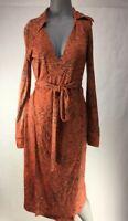 Diane Von Furstenberg Womens Faux Wrap Dress Orange Leaves Belted 100% Silk 2