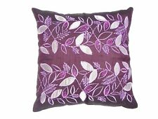 "4XFLORAL EMBROIDERED CUSHION COVERS IN FAUX SILK 18""X18"", 45X45cms"