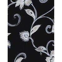 Formal Contemporary Shiny Silver Scroll on Black Wallpaper TU27119