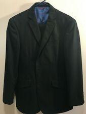 Billy London Men's Size 40R 2 Button Black Suit with Flat Front Pants Size 34x30