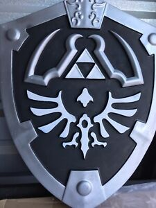 Legend of Zelda Ocarina of Time Link's Hylian Shield with Handle. Black & White.